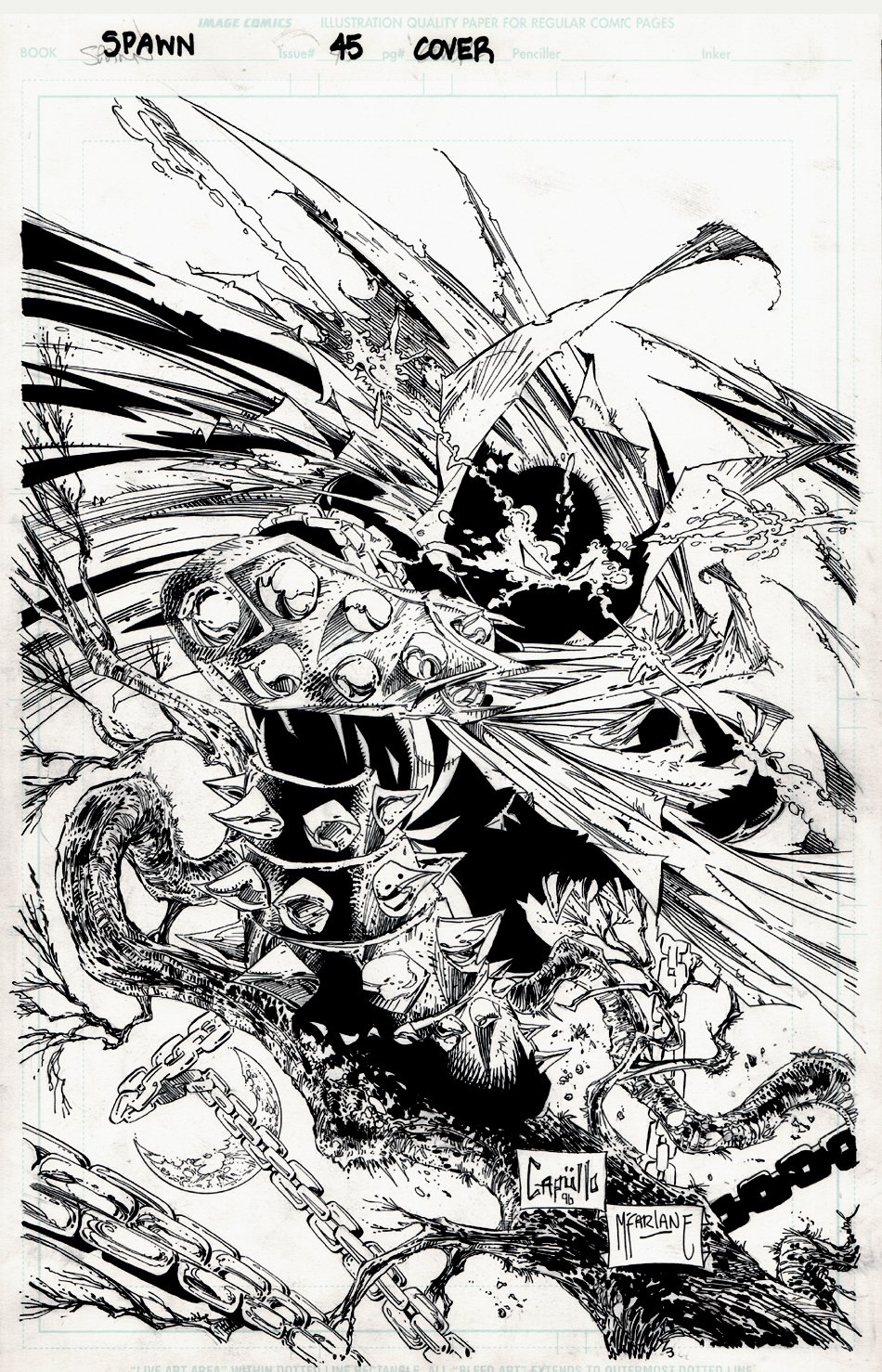 Spawn #45 Cover (TODD McFARLANE INKS!) 1995