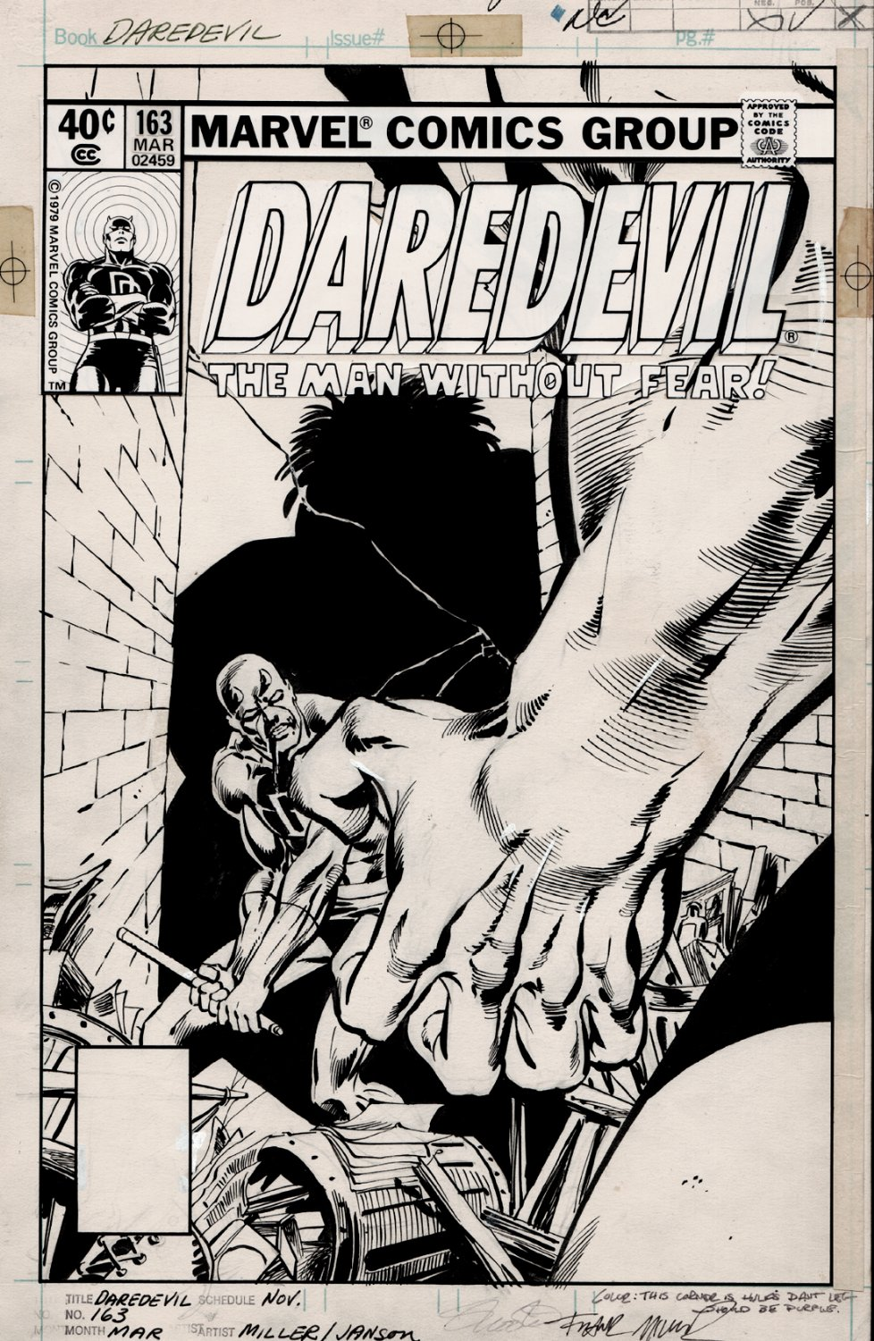 Daredevil #163 Cover (DAREDEVIL VS. THE INCREDIBLE HULK!) 1980
