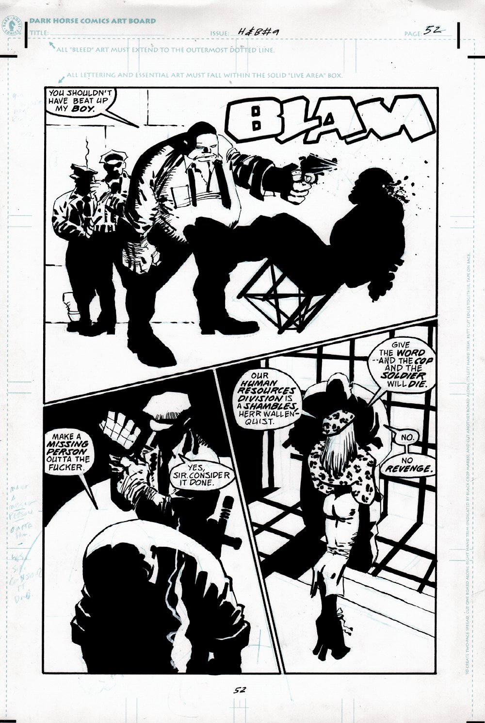 Sin City: Hell and Back #9 p 52 Half-Splash Murder F-Bomb Page (1999)