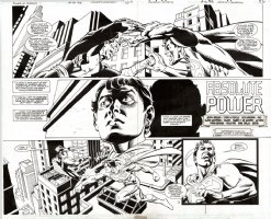 Power of SHAZAM Issue 46 Page 2-3 Double Spread Splash (1998) Comic Art