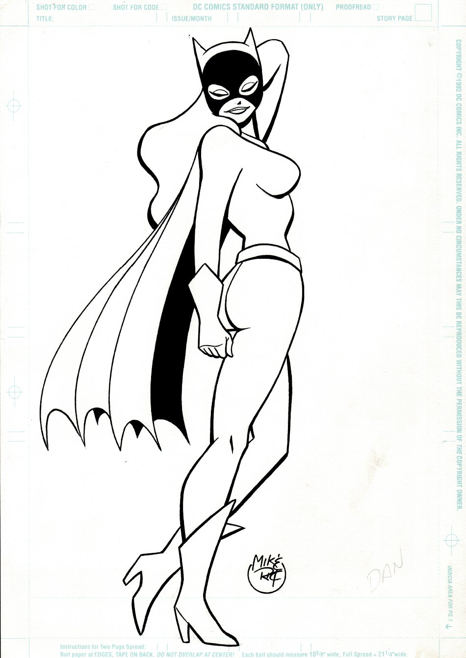 Batgirl Published Pinup For Letters Pages In Batman Adventures Comic Books (1990s)