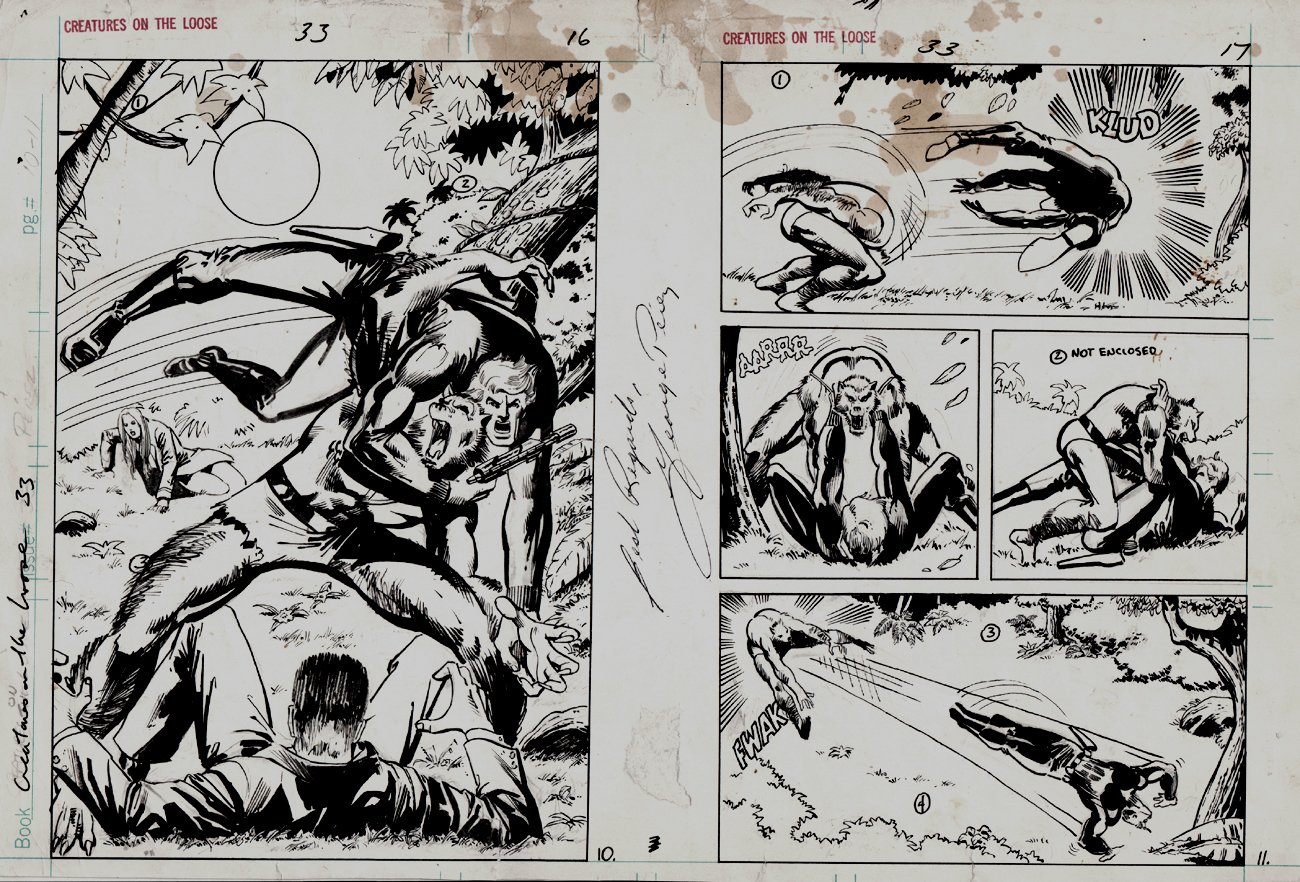 Creatures on the Loose #33 p 10 SPLASH and 11 Page On 1 Board (1975)