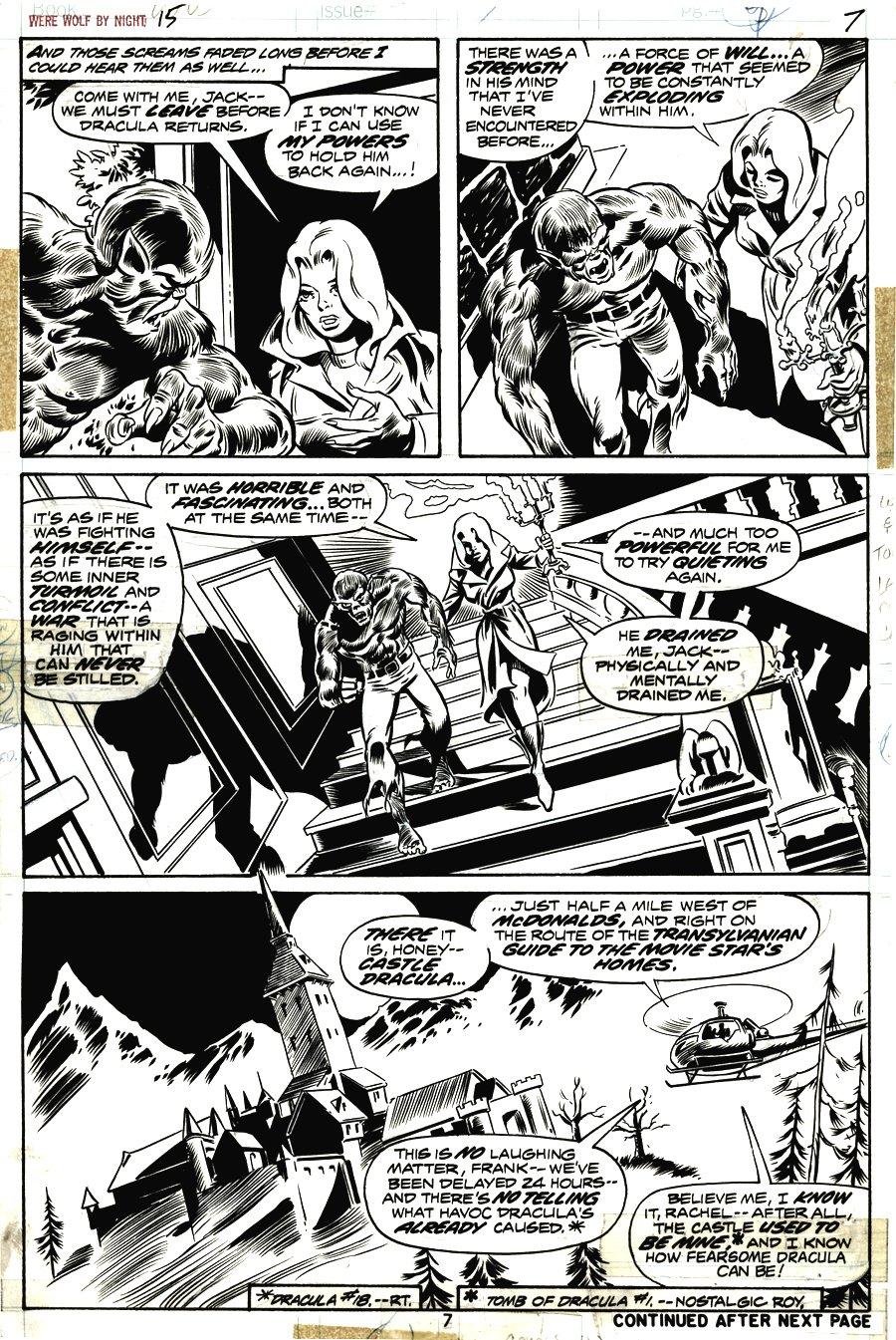 Werewolf by Night #15 p 7 (WEREWOLF VS DRACULA ISSUE!) 1973
