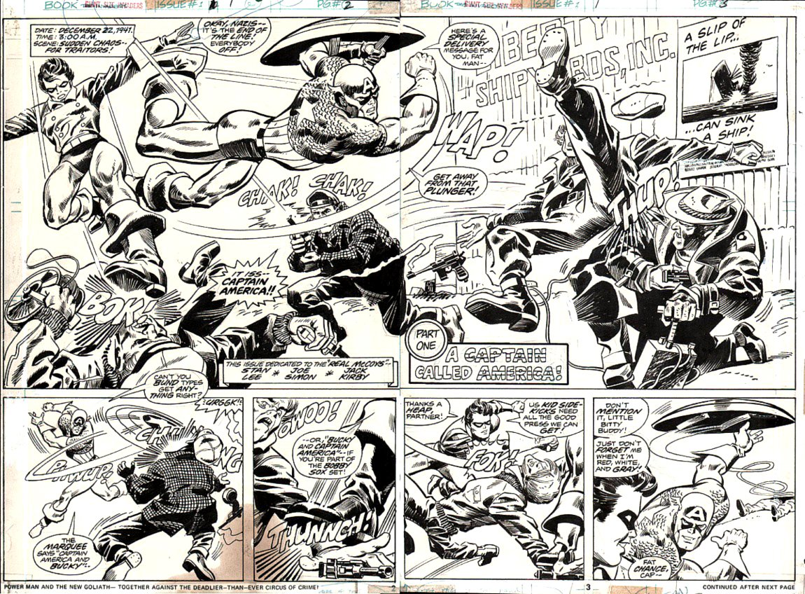 Giant-Size Invaders #1 p2-3 Double Spread Splash (PRE INVADERS #1, FIRST APPEARANCE, FIRST HISTORIC SPREAD) 1975