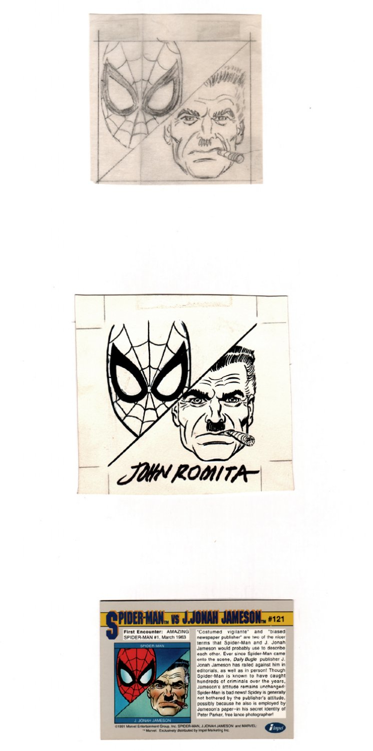 Marvel Series 2 Spider-Man / J. Jonah Jameson BACK Card Art #121 Pencil Prelim & Published Art Image (1991)