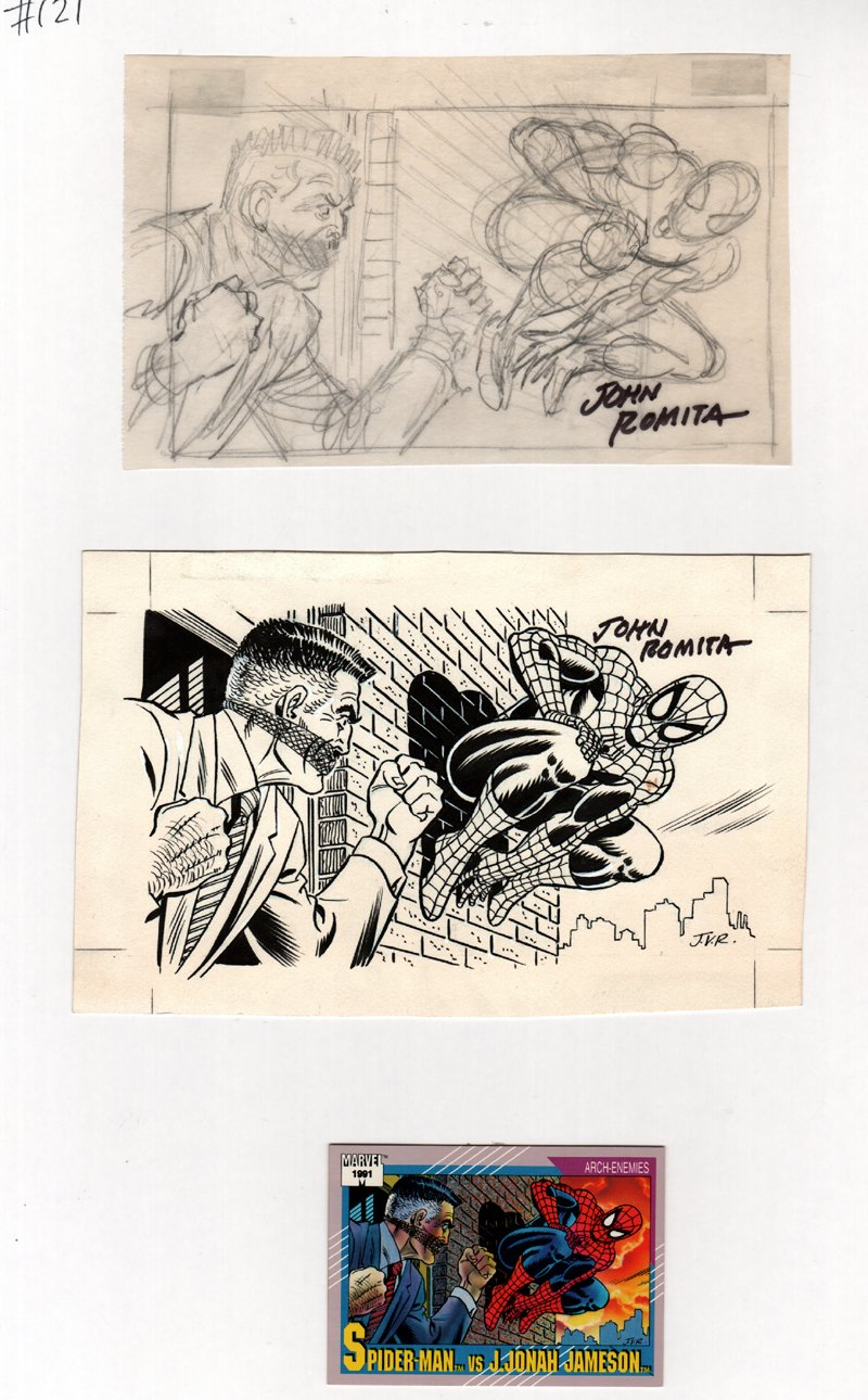 Marvel Series 2 Spider-Man / J. Jonah Jameson FRONT Card Art #121 Pencil Prelim & Published Art Image (1991)