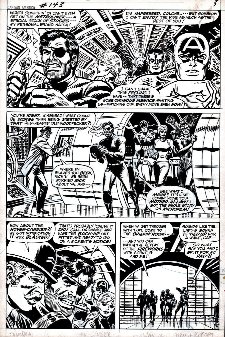 Captain America #143 p 3 (CAP, NICK FURY, FALCON, SHARON CARTER IN EVERY PANEL!) 1971