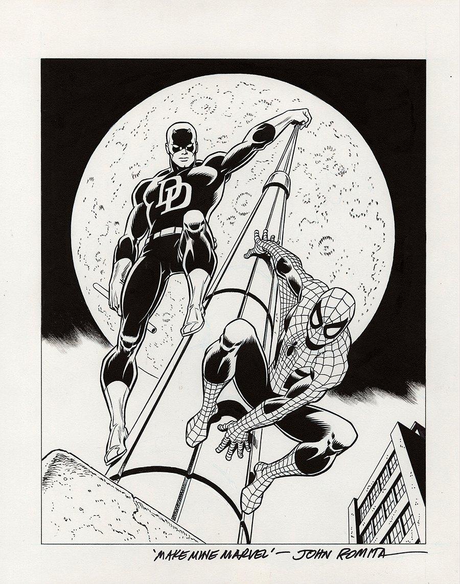 Daredevil / Spider-Man Art For Lithograph