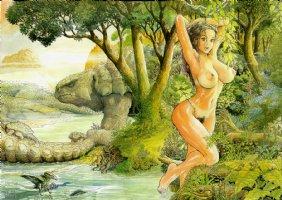 Cavewoman Ankhas Revenge #2 Wraparound Cover (NUDE) 2008 Comic Art