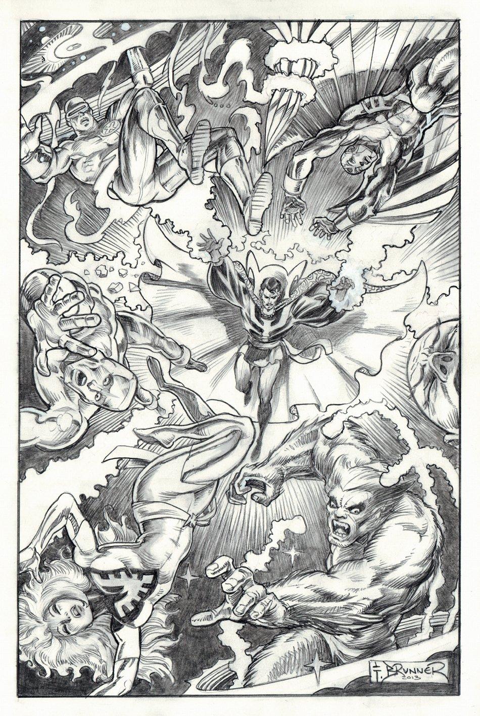 Dr. Strange Battles '6' X-Men Commission Pinup (Large Art) 2012