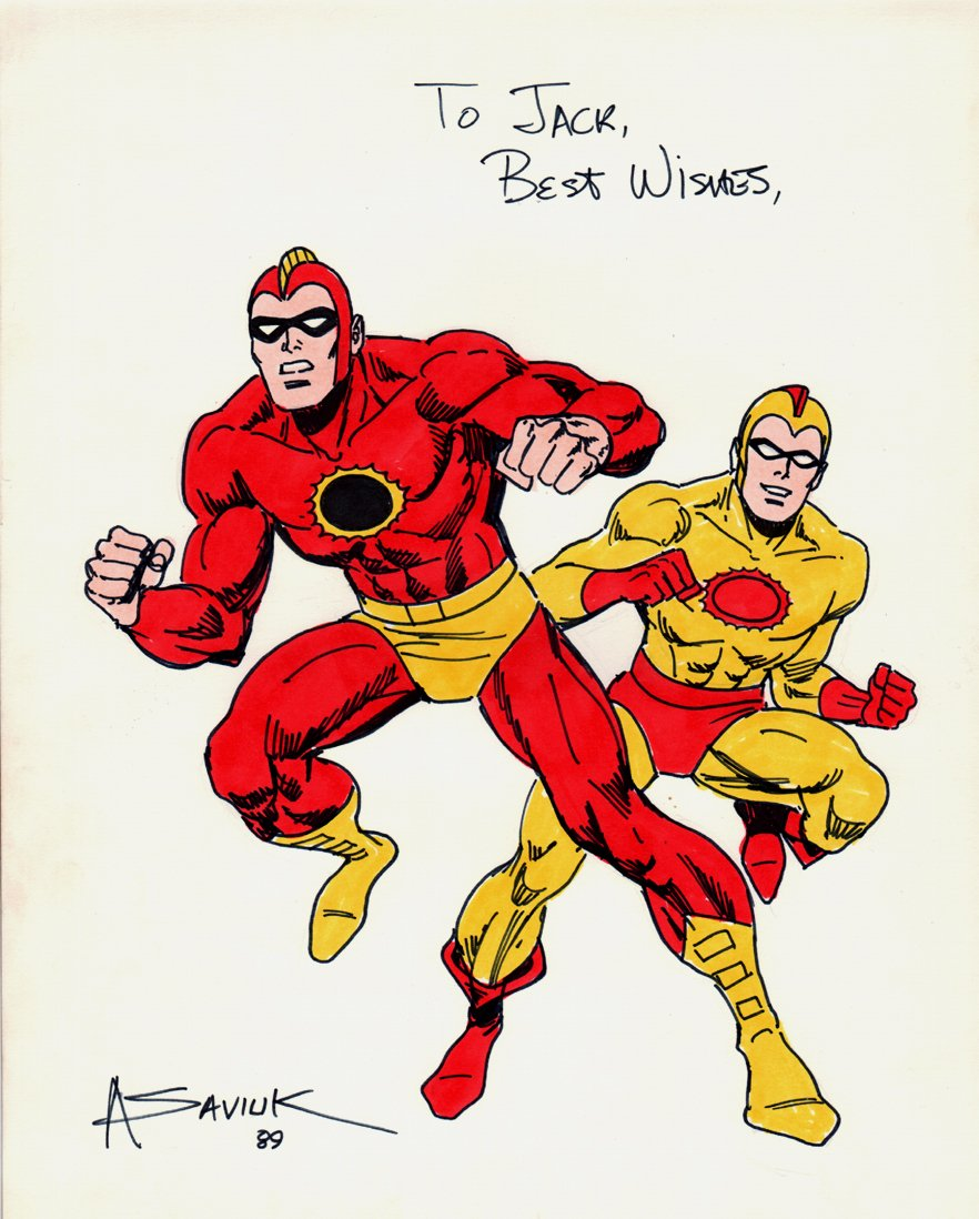 Crimson Avenger And Wing hand Colored Full Body Pinups (1989)