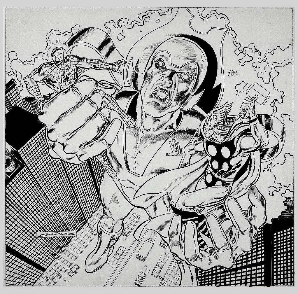 Marvel Team-Up 'HUGE' Spider-Man / Thor Poster-Sized Portfolio Plate 1981