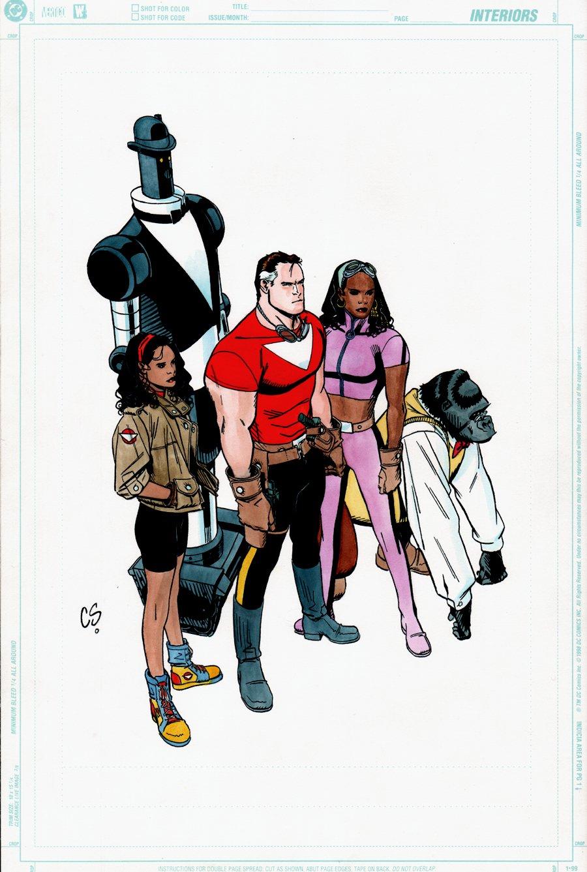Cast of Alan Moore's Tom Strong, Published Color Illustration