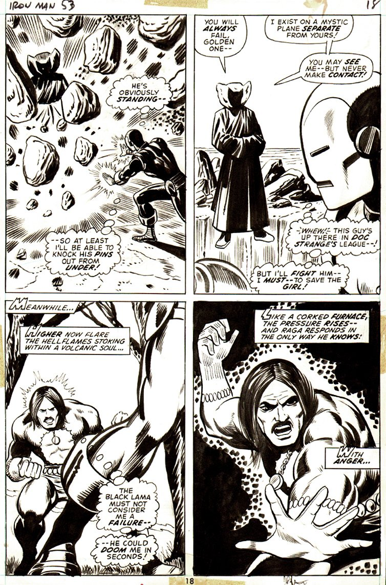 Iron Man #53 p 18 (VERY FIRST STARLIN PENCILED COMIC BOOK PAGE!) 1972