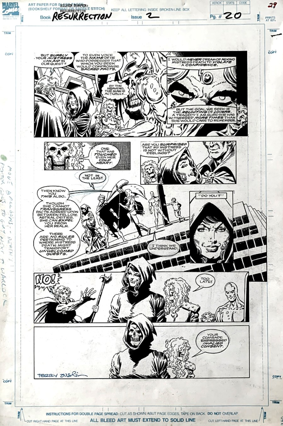 Silver Surfer / Warlock: Resurrection #2 p 20 (Adam Warlock, Silver Surfer, Death, Pip) LARGE ART - 1992