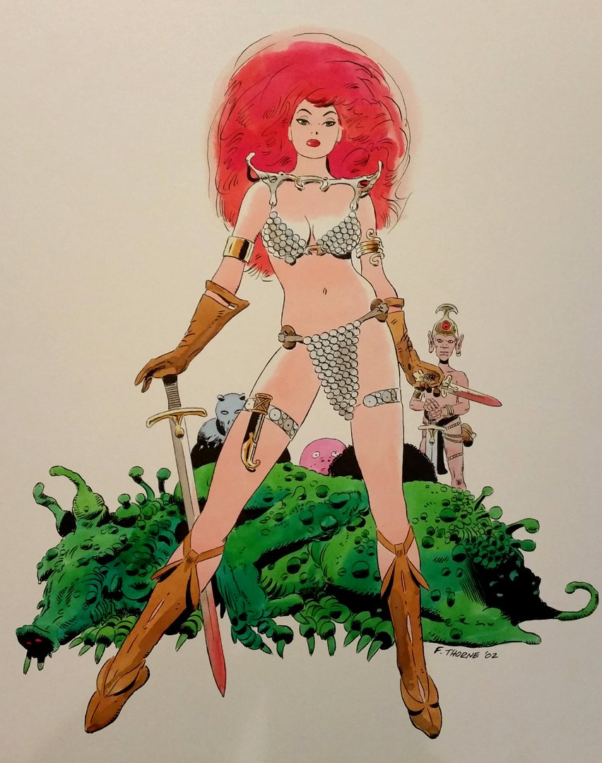 Red Sonja Very large, SEXY Mixed Media Pinup (2002)