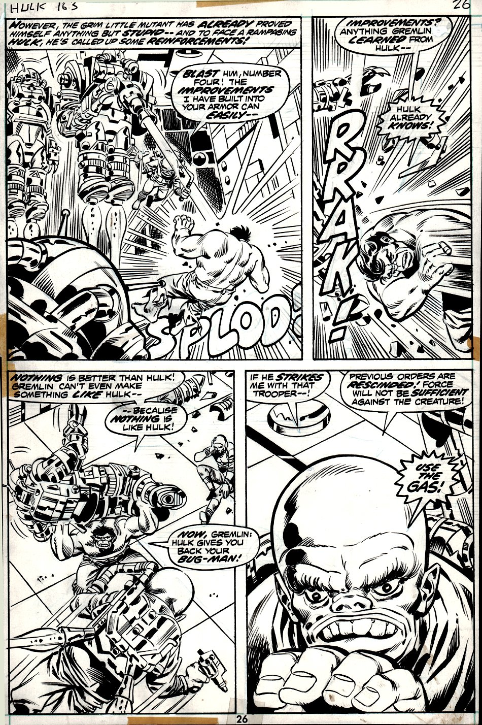 Incredible Hulk #163 p 26 (4 PANEL BATTLE PAGE!) 1972
