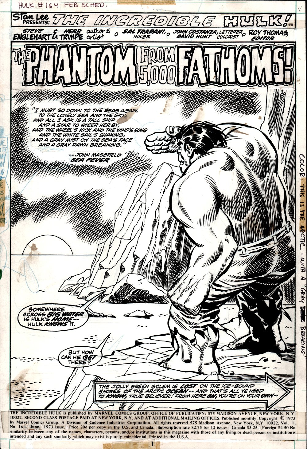 Incredible Hulk #164 p 1 SPLASH (1973)