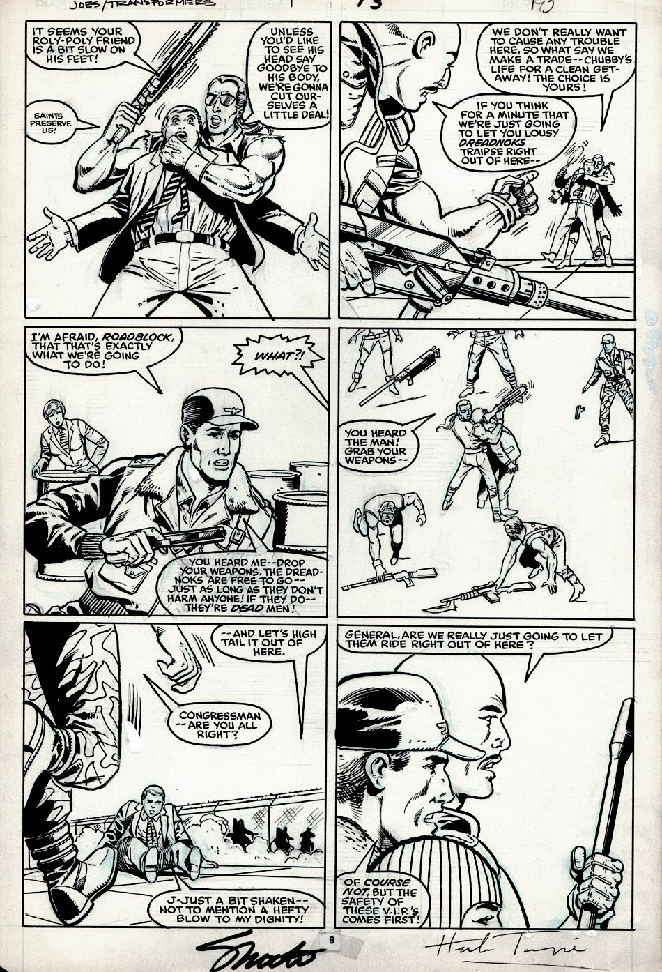 G.I. Joe and the Transformers #1 p 13 (SIGNED BY JIM SHOOTER & HERB TRIMPE!) 1986