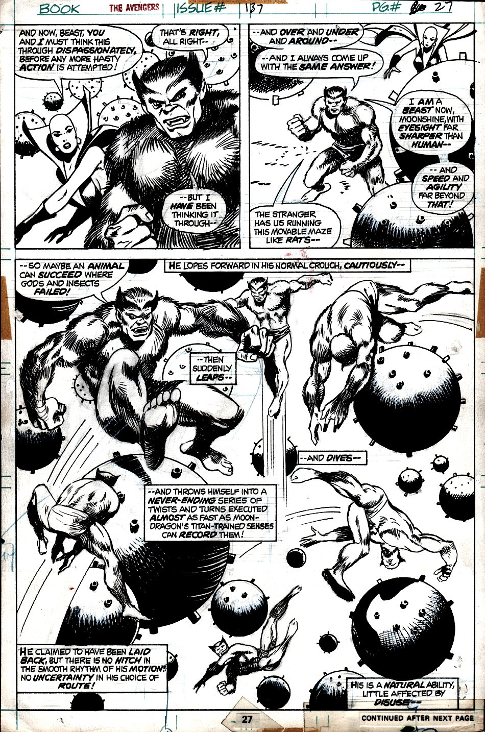 Avengers #137 p 27 SPLASH (AWESOME 'BEAST' COLLAGE BATTLE!) 1975