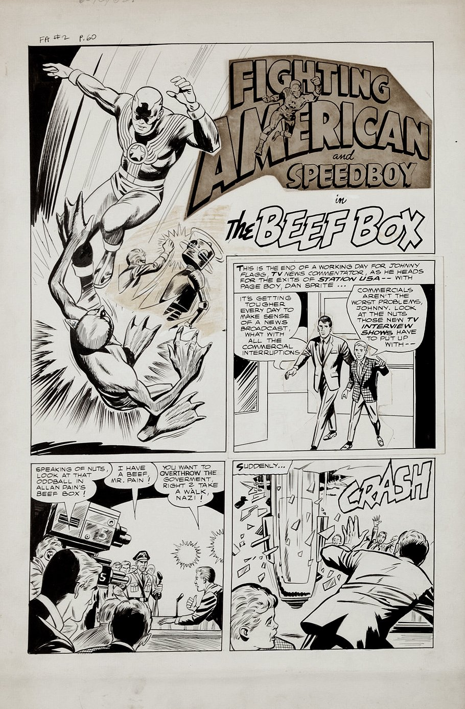 Fighting American #2 Complete 3 Page Story (Large Art) 1950s