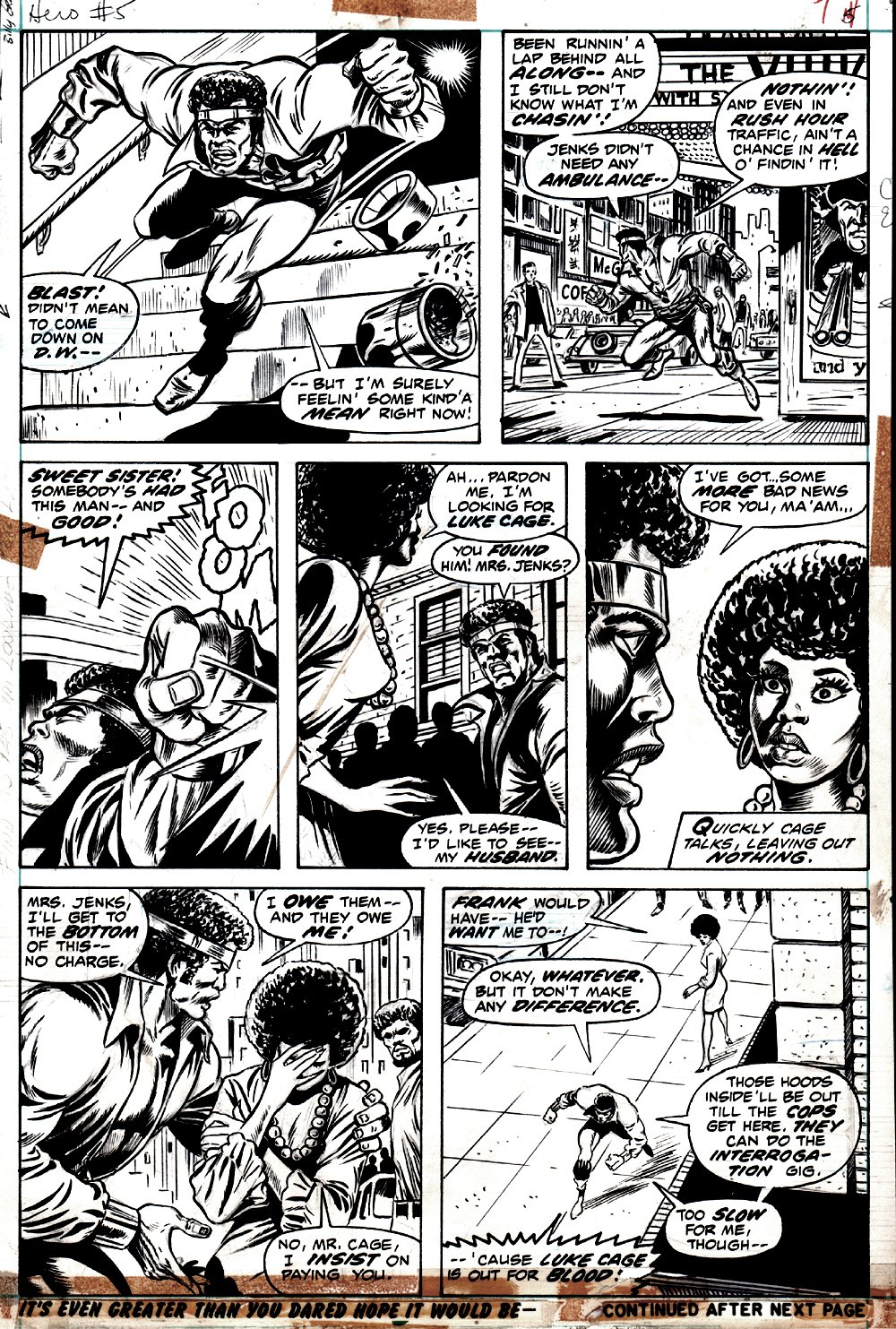 Hero for Hire #5 p 7 (FANTASTIC BILLY GRAHAM INKS, CAGE IN ALL 7 PANELS!) 1972