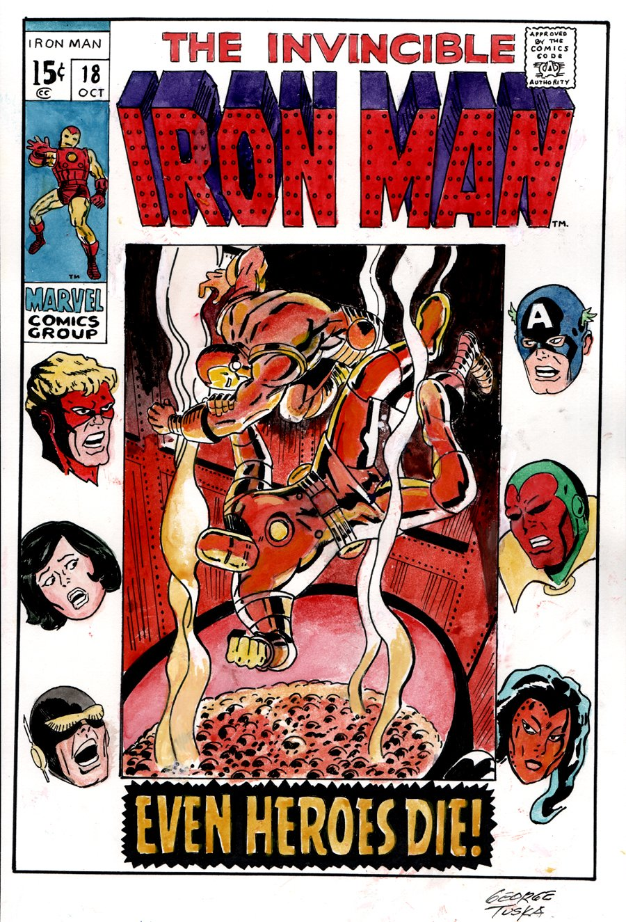 Iron Man #18 Hand Colored Cover Recreation