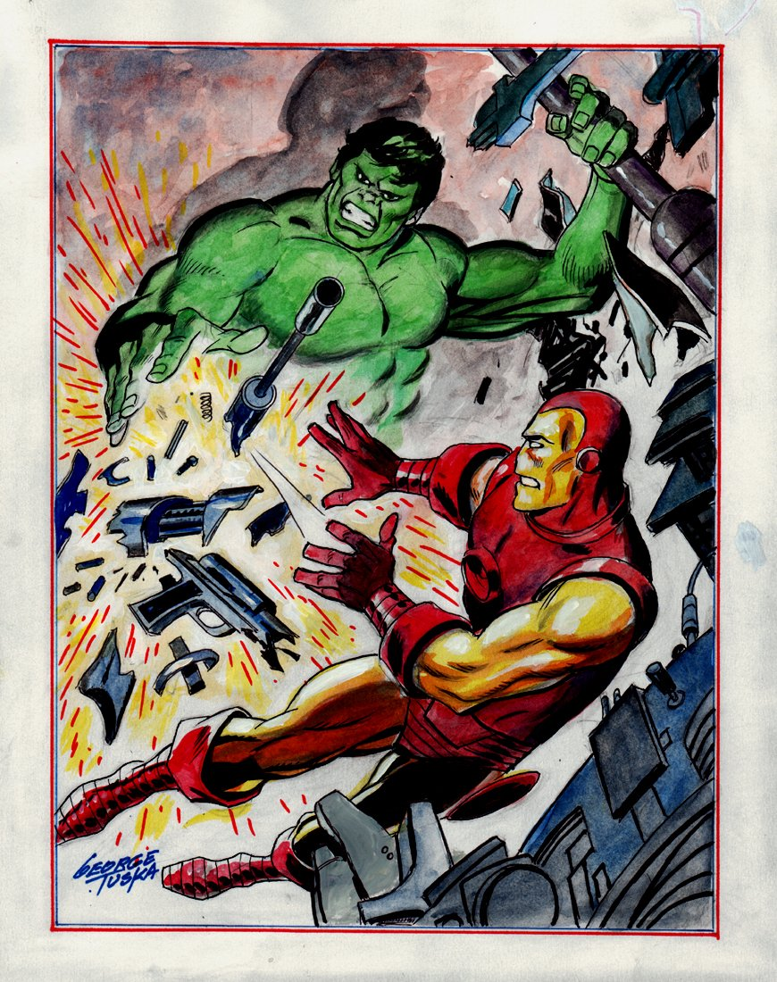 Iron Man vs. The Incredible Hulk Hand Colored Pinup