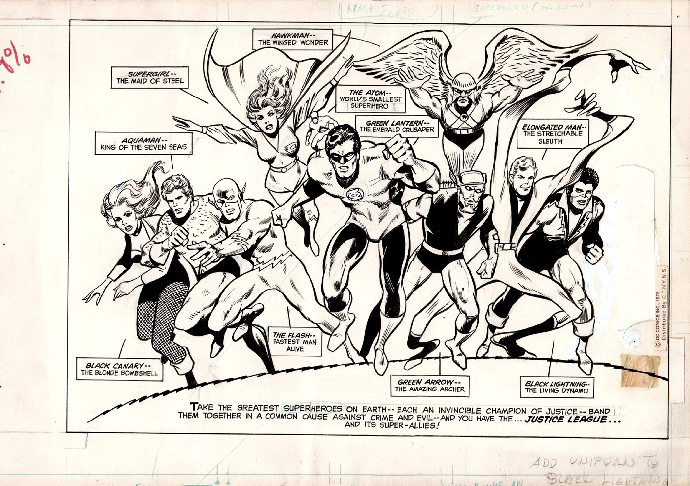World's Greatest Superheroes Illustration To Get The Newspaper Strip Syndicated (VERY HISTORIC!) Early 1978