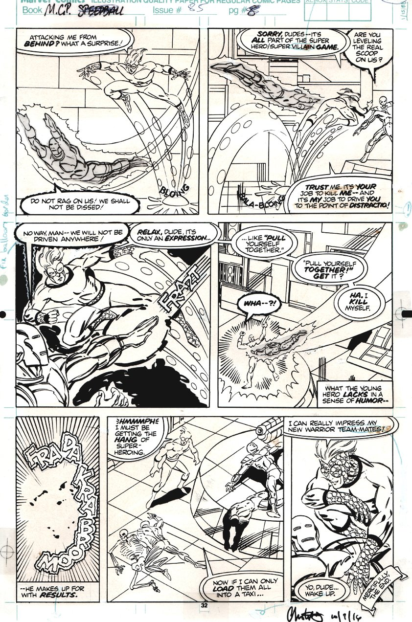 Marvel Comics Presents #85 p 8 (SPEEDBALL Battle Page!) 1991