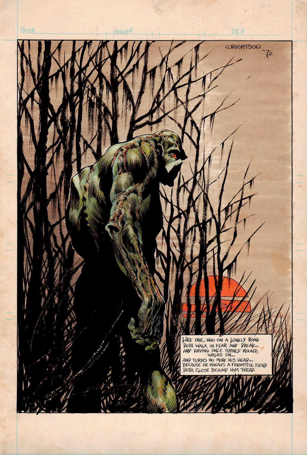 Swamp Thing (PRE-ISSUE #1 PUBLISHED DC AD ART PROMOTING SWAMPTHING #1) Drawn, Hand Colored, Hand Lettered Illustration All By Wrightson! 1972