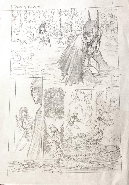 Batman / Aliens #1 p 5 Large Art Detailed Pencils (1997)