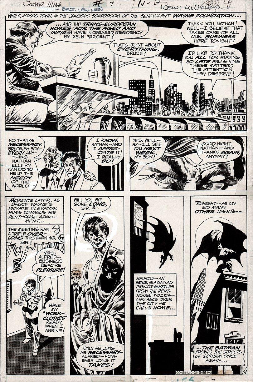 Swamp Thing #7 p 4 (NICE BATMAN PAGE!) 1973
