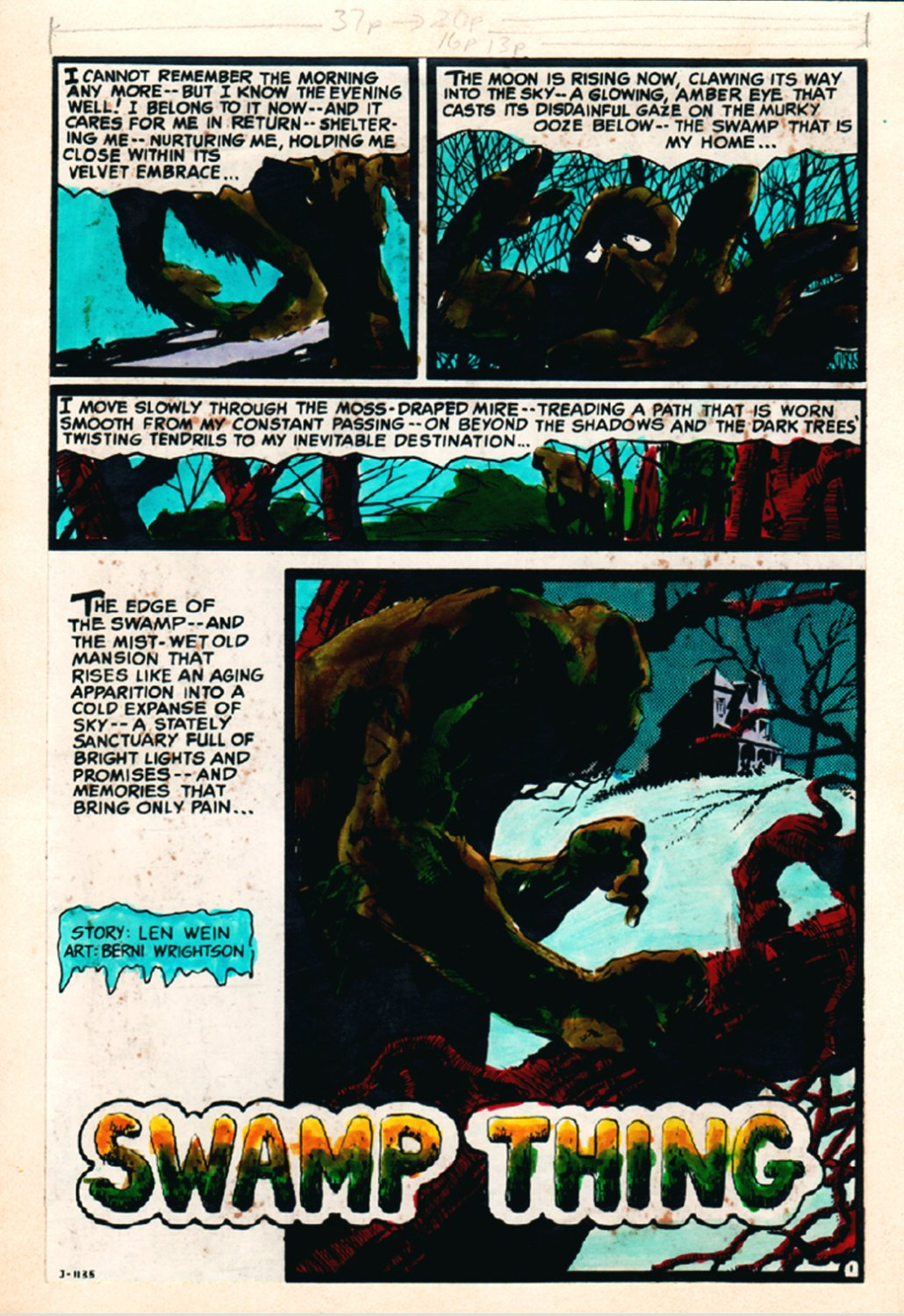 VERY HISTORIC 'HOUSE OF SECRETS #92' Hand Painted Color Guide SPLASH, Drawn By Bernie Wrightson Himself! (1971)
