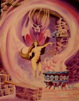 Nude Sorceress / Demon Oil Painting  Comic Art