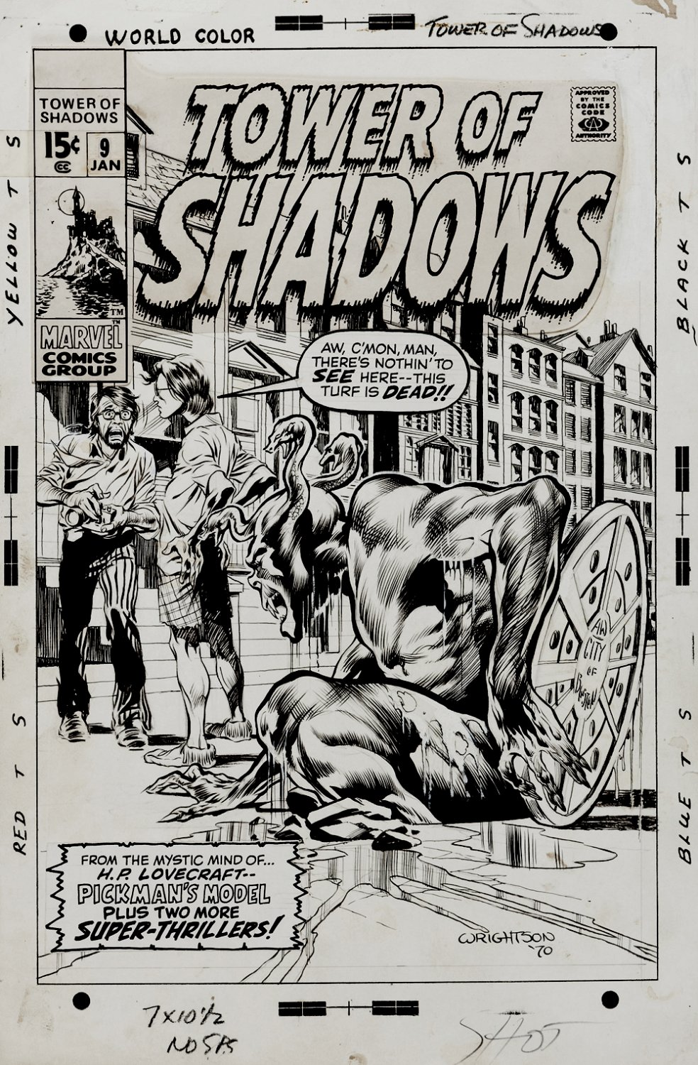 Tower of Shadows #9 Cover ( FIRST TIME WRIGHTSON DREW HIMSELF ON A HORROR COVER!) 1970