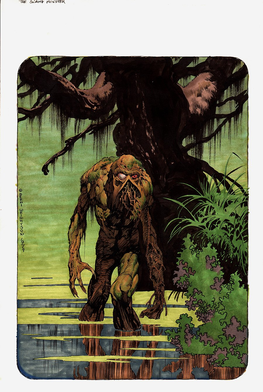 The Monsters Color The Creature 'SWAMP THING' Hand Colored Illustration (1974)