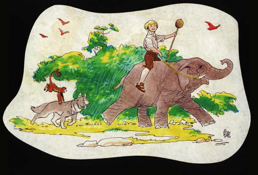 Swiss Family Robinson Colored Animation Drawing (1960s)