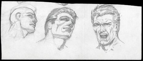 Nice 3 Image Head Study (1970s) Comic Art