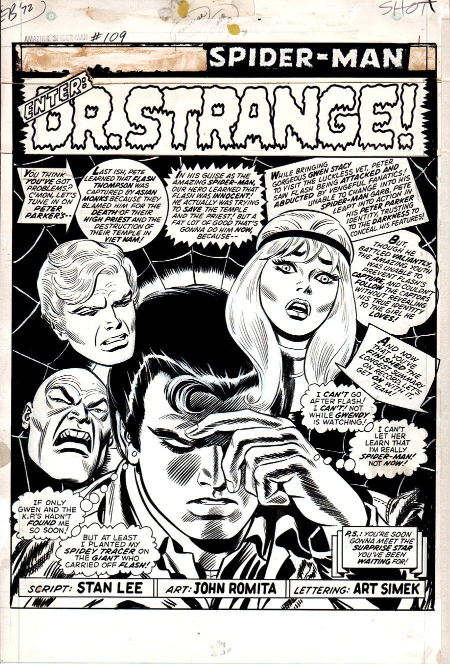 Amazing Spider-Man #109 p 1 SPLASH 1972 SOLD SOLD SOLD!