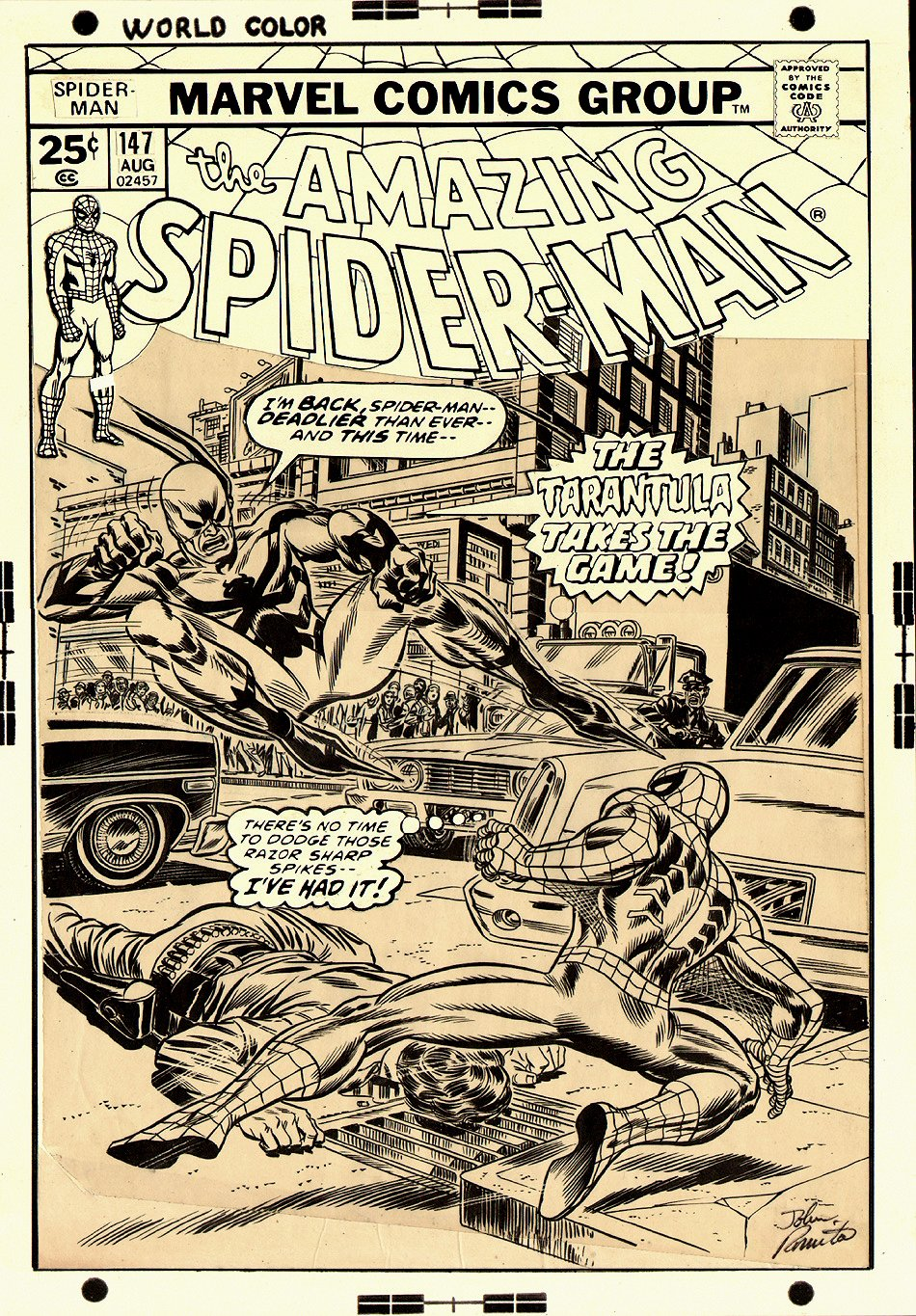 Amazing Spider-Man 147 Cover (OVER-SIZED) 1975 SOLD SOLD SOLD!