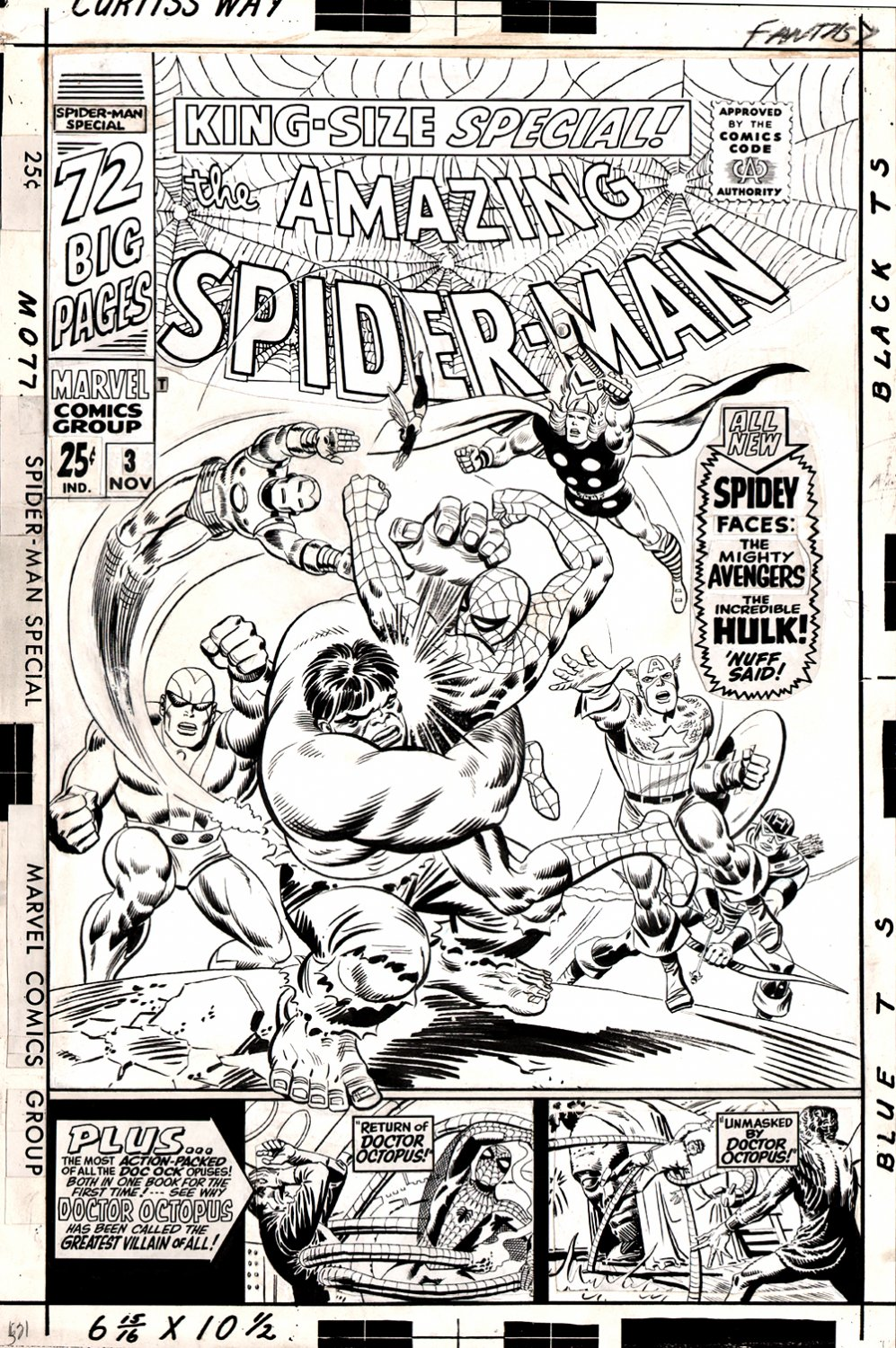 Amazing Spider-Man Annual #3 Cover (Large Art) 1966  SOLD SOLD SOLD!