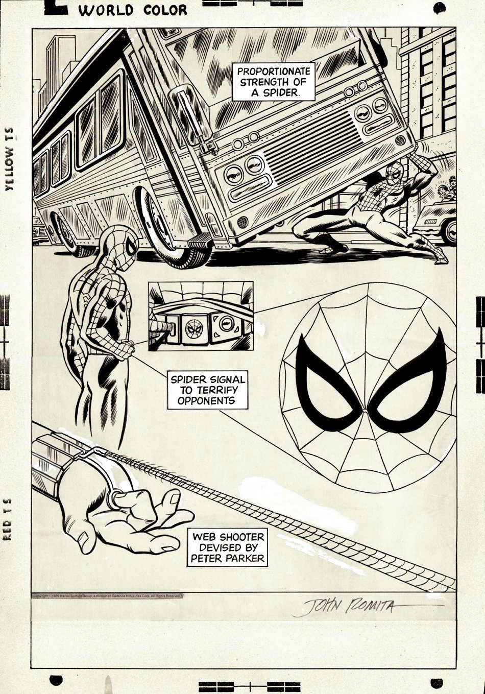 Amazing Spiderman 1970s Syndicated Newspaper Strip Header Art