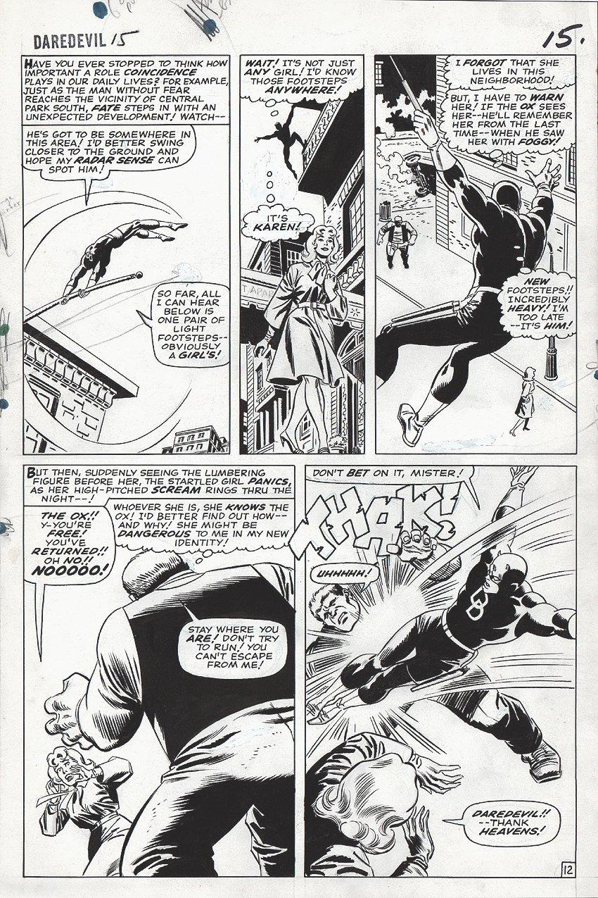 Daredevil #15 p 12 (LARGE ART) 1965 SOLD SOLD SOLD!