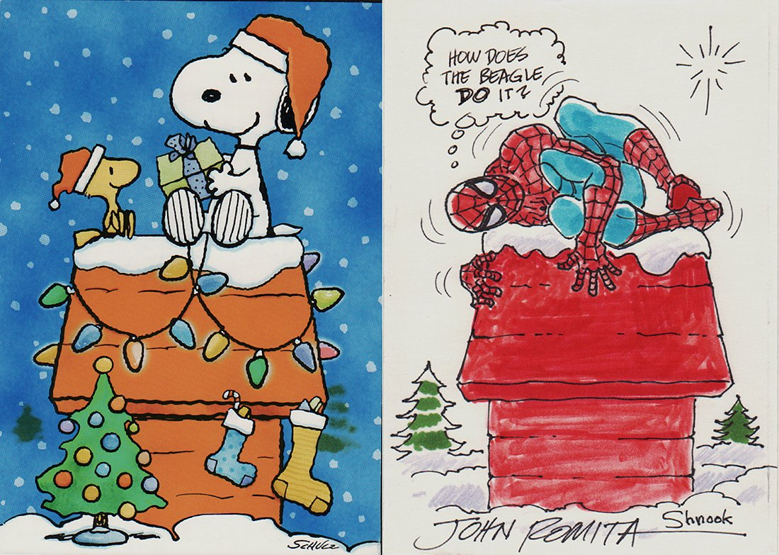 Spider-Man / Snoopy Christmas Themed Hand Colored Card Artwork (2001) SOLD SOLD SOLD!