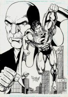 Superman / Lex Luthor Large Pinup Comic Art