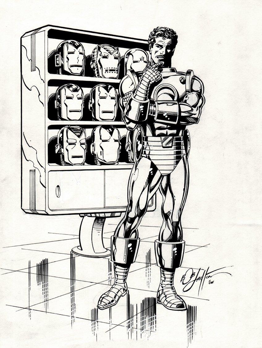 Tony Stark and '7' Iron Man Helmets Pinup (2004)