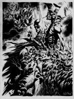 Batman, Deadman, Swamp Thing Detailed Pinup Comic Art