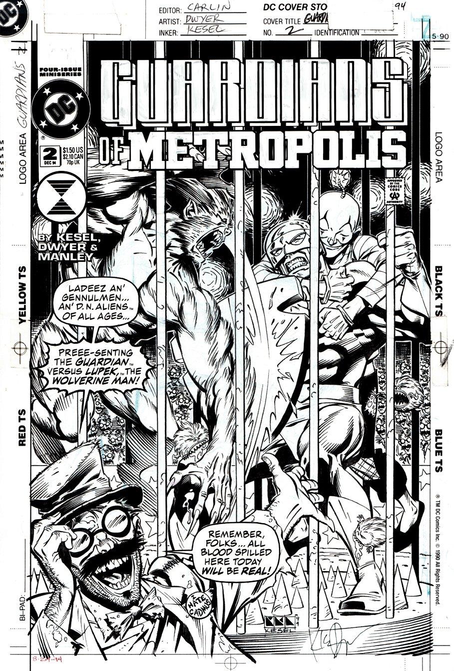 Guardians of Metropolis #2 Cover (THE GUARDIAN VS WOLVERINE MAN!) 1994