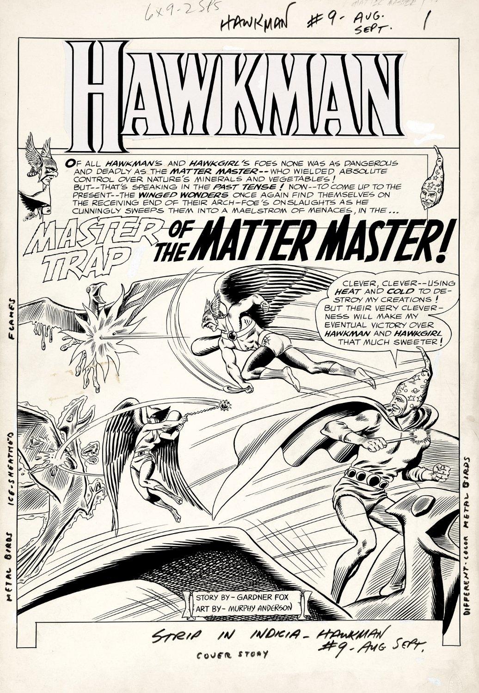 Hawkman #9 p 1 BATTLE SPLASH (Large Art) 1965